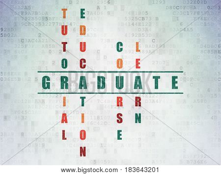 Learning concept: Painted green word Graduate in solving Crossword Puzzle on Digital Data Paper background