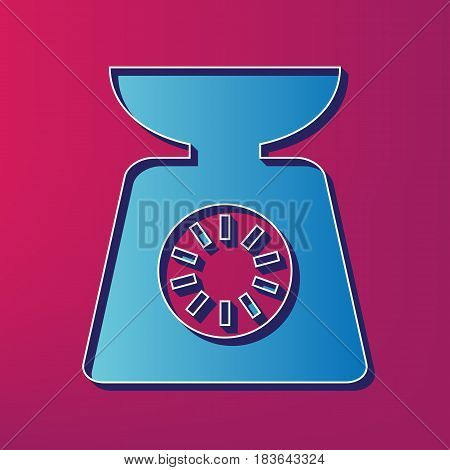 Kitchen scales sign. Vector. Blue 3d printed icon on magenta background.