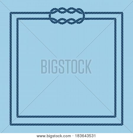 Sailor rope knot picture frame. Blank poster template with nautical border. Graphic design element. Wedding invitation, baby shower, birthday card, scrapbooking. Vector illustration.