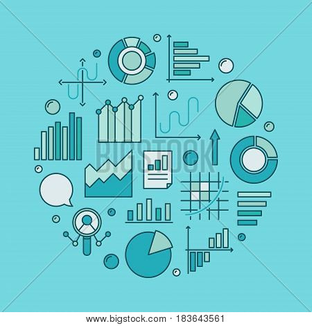 Blue data analytics circular illustration - vector modern creative financial analysis or statistics concept symbol