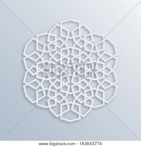 Islamic geometric pattern. Sacred geometry. Vector muslim mosaic persian motif. Elegant white oriental ornament traditional arabic art. Mosque decoration element. 3D illustration for greeting cards