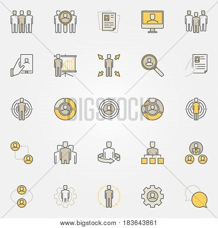 Colorful human resources icons. Vector business and people symbols. HR creative signs