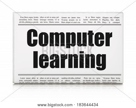 Learning concept: newspaper headline Computer Learning on White background, 3D rendering