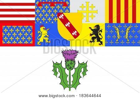 Flag of Nancy is the capital of the north-eastern French department of Meurthe-et-Moselle. Vector illustration