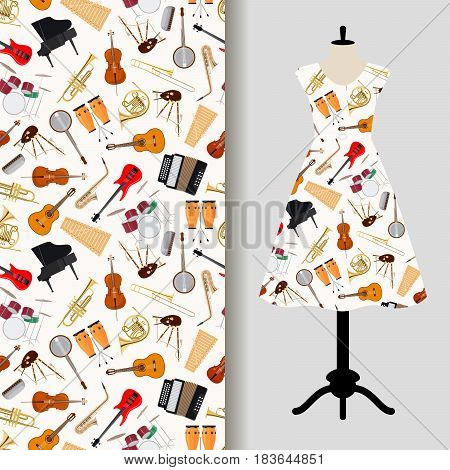 Women dress fabric pattern design with jazz musical instruments. Vector illustration