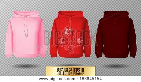 Hoody set. Realistic mockup. Long sleeve hoody template on transparent background. Pink, red and vinous version