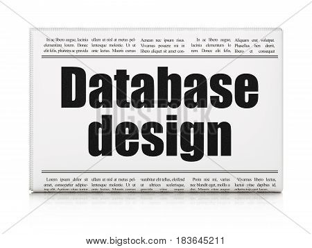 Database concept: newspaper headline Database Design on White background, 3D rendering