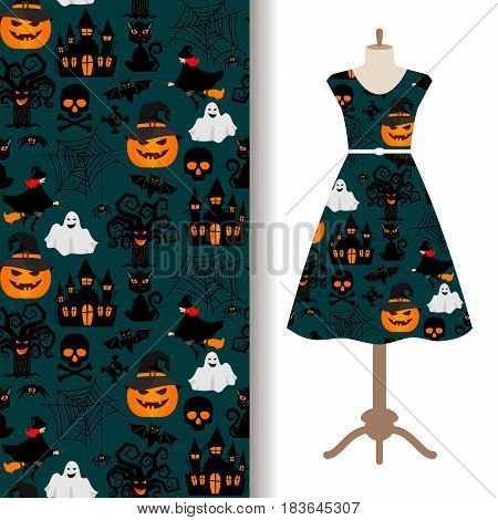 Womens dress fabric pattern design with halloween decorations. Vector illustration