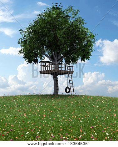 3D rendering of beautiful handmade backyard tree house for kids.