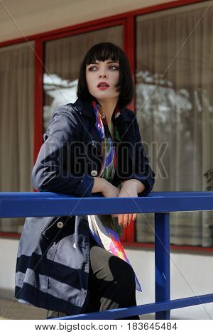 Fashionable Girl Is Waiting For Transportation