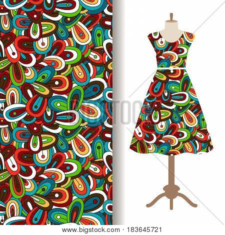 Women dress fabric pattern design with ornamental floral doodle pattern. Vector illustration