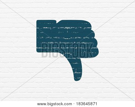 Social network concept: Painted blue Thumb Down icon on White Brick wall background