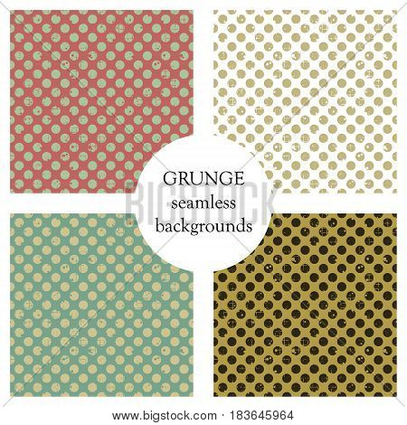 Set Of Seamless Vector Patterns. Geometric Polka Backgrounds With Dots. Grunge Texture With Attritio