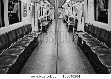 Bangkok, Thailand - Dec 14, 2016 in 09.52 PM - MRT subway train runs in Bangkok. Many people in bangkok used subway to save time.