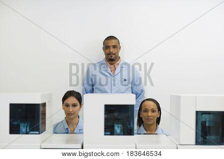 Technicians working in laboratory