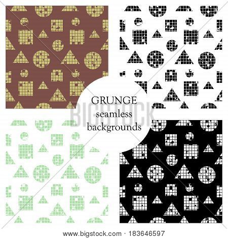 Set Of Seamless Vector Abstract Pattern. Geometric Background With Circles, Squares, Triangles. Grun