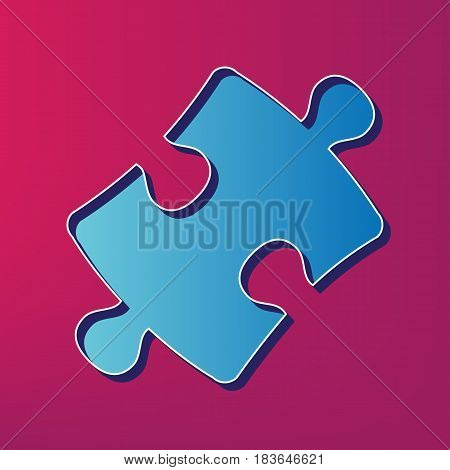 Puzzle piece sign. Vector. Blue 3d printed icon on magenta background.