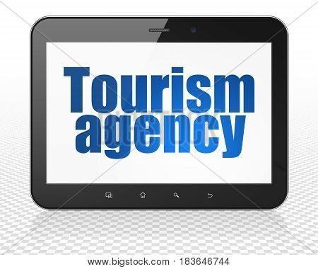 Travel concept: Tablet Pc Computer with blue text Tourism Agency on display, 3D rendering