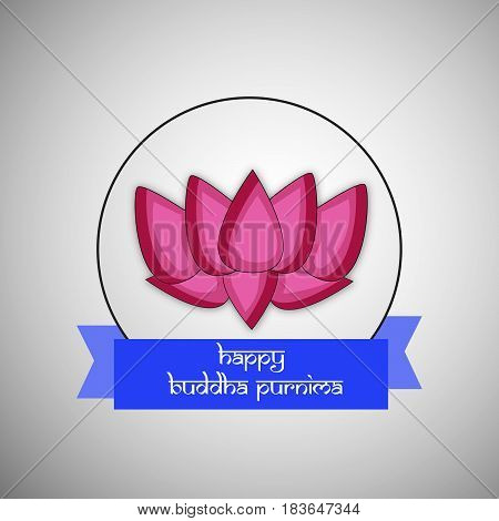 Illustration of Lotus flower with Happy Buddha Purnima text