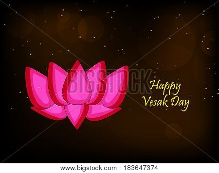 illustration of Lotus flower with Happy vesak day text