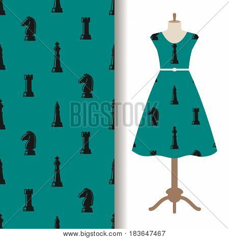 Women dress fabric pattern design with chess pieces. Vector illustration