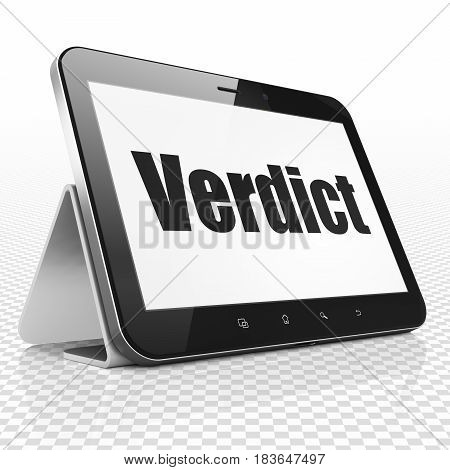 Law concept: Tablet Computer with black text Verdict on display, 3D rendering