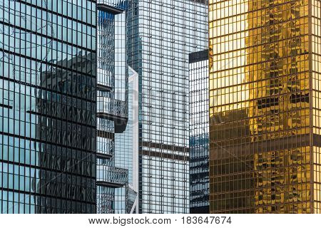 detail shot of modern architecture facadebusiness conceptsin city of China.