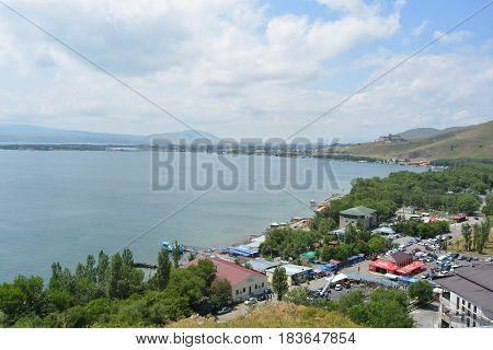 Lake Sevan in Armenia, pure water, natural background