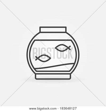 Fish bowl linear icon - vector two fish in round aquarium sign or logo element