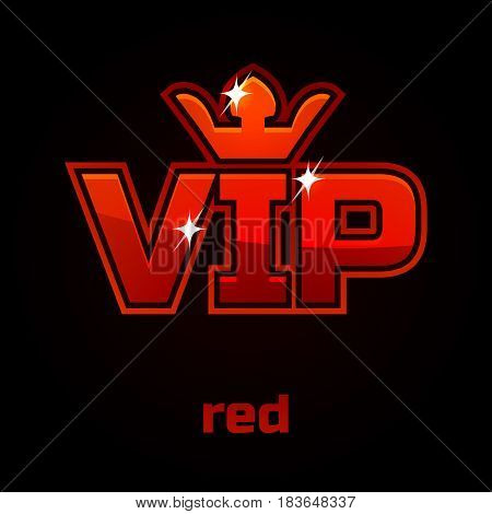 Red Vip vector symbol on black background, set 10