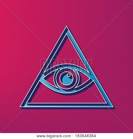 All seeing eye pyramid symbol. Freemason and spiritual. Vector. Blue 3d printed icon on magenta background.