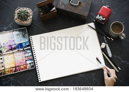 Drawing Painting Illustration Black Marble Table