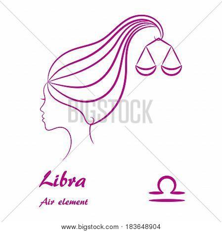 Libra zodiac sign. Stylized female contour profile.
