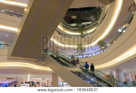 TAIPEI TAIWAN - DECEMBER 5, 2016: Unideintified people visit Miramar Entertainment park. Miramar Entertainment park is a shopping complex with the 2nd tallest ferris wheel.