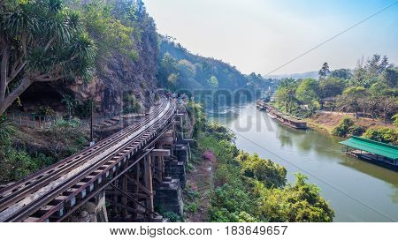 Tham Krasae Amazing Railway Pass The Cliff And River