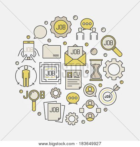 Job round colorful illustration - vector concept symbol