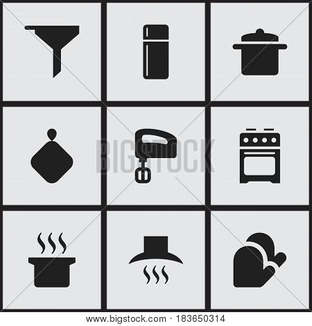 Set Of 9 Editable Meal Icons. Includes Symbols Such As Cookware, Agitator, Kitchen Hood And More. Can Be Used For Web, Mobile, UI And Infographic Design.