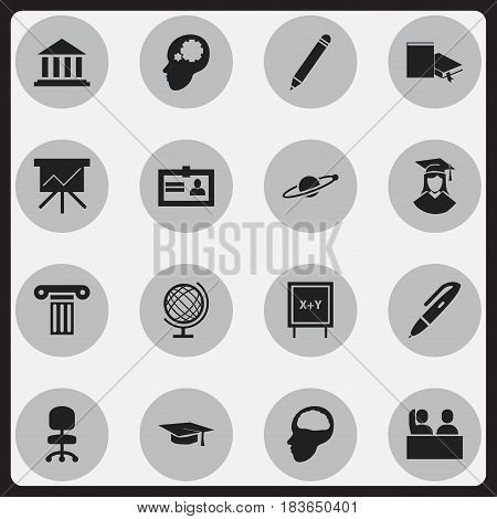 Set Of 16 Editable University Icons. Includes Symbols Such As Pen, Pencil, Cerebrum And More. Can Be Used For Web, Mobile, UI And Infographic Design.