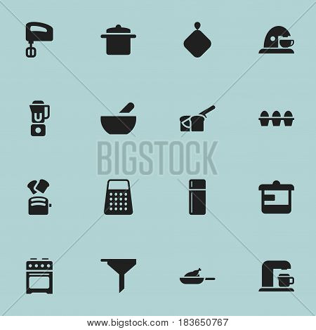 Set Of 16 Editable Cooking Icons. Includes Symbols Such As Filtering, Agitator, Slice Bread And More. Can Be Used For Web, Mobile, UI And Infographic Design.
