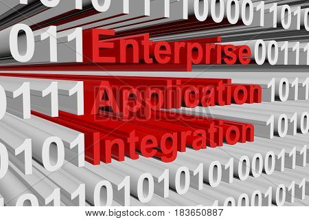 Enterprise application integration in the form of binary code, 3D illustration