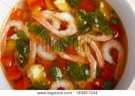 Soup Of Fresh Vegetables With Shrimps