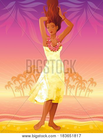 Summer people travel beach background, beautiful tan sexy hawaiian hula dancing girl. Sea vintage party poster. Tropical sunset evening vector illustration. Summertime palm island landscape template
