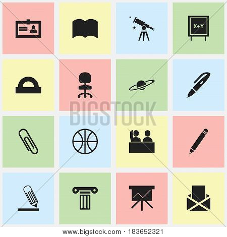 Set Of 16 Editable University Icons. Includes Symbols Such As Writing, Semicircle Ruler, Pillar And More. Can Be Used For Web, Mobile, UI And Infographic Design.