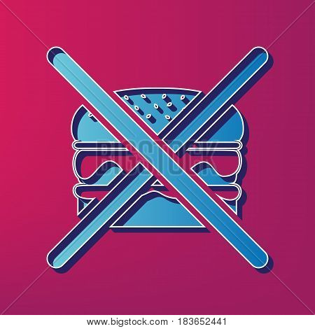 No burger sign. Vector. Blue 3d printed icon on magenta background.