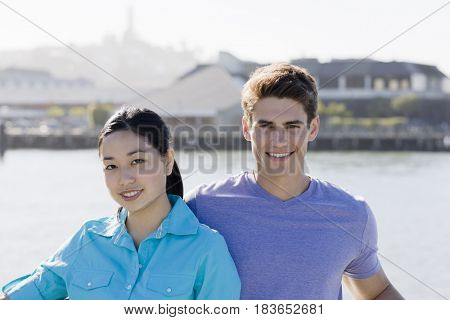 Smiling couple at waterfront