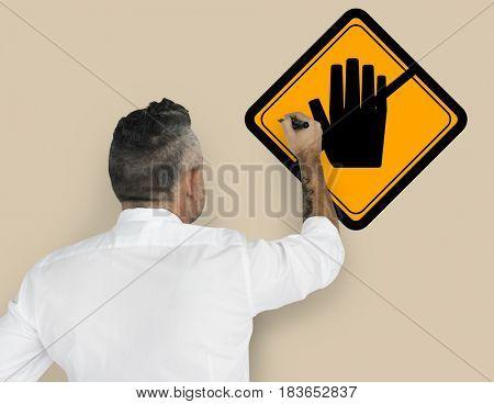 Studio Senior Man Shoot Don't Touch Caution Sign Banner