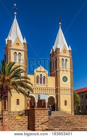 Catholic Saint Mary Church With Blue Sky  In Background, Windhoek, Namibia