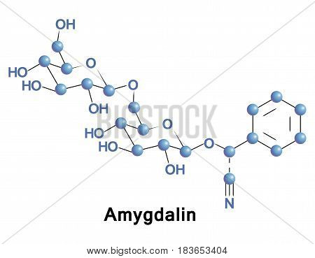 Amygdalin is a poisonous cyanogenic glycoside found in many plants, but most notably in the seeds of apricot, bitter almonds, apple, peach, and plum.