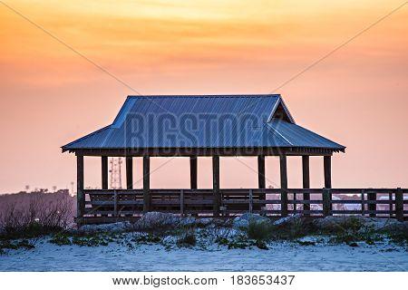 Gazebo And Sunset At Hendesrson Point Mississippi