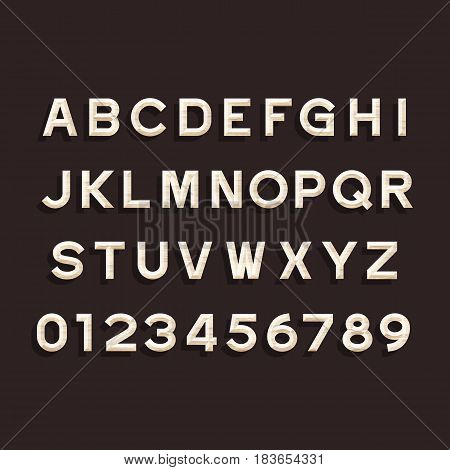 Wooden Alphabet Vector Font. Type letters and numbers. Chiseled block typeface for your design.